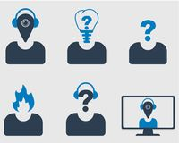 Creative Profile Icon Set. Location, Fire, Question sign and Bulb used as head of Man. On gray Background Royalty Free Stock Images