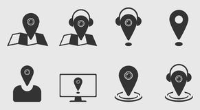 Creative Profile Icon Set. Location, Fire, Question sign and Bulb used as head of Man. On gray Background Royalty Free Stock Photo
