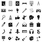 Creative puzzle icons set, simple style Stock Images
