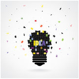 Creative puzzle light bulb Idea concept background Royalty Free Stock Photos