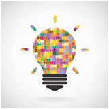 Creative puzzle light bulb Idea concept background,education con Stock Images