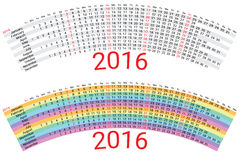 Creative Rainbow Calendar 2016 Royalty Free Stock Photography
