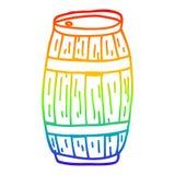 A creative rainbow gradient line drawing cartoon beer barrel. An original creative rainbow gradient line drawing cartoon beer barrel vector illustration