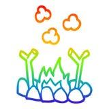 A creative rainbow gradient line drawing cartoon camp fire. An original creative rainbow gradient line drawing cartoon camp fire stock illustration