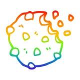 A creative rainbow gradient line drawing cartoon chocolate biscuit. An original creative rainbow gradient line drawing cartoon chocolate biscuit vector illustration