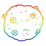 A creative rainbow gradient line drawing cartoon chocolate chip cookie. An original creative rainbow gradient line drawing cartoon chocolate chip cookie stock illustration