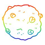 A creative rainbow gradient line drawing cartoon chocolate chip cookie. An original creative rainbow gradient line drawing cartoon chocolate chip cookie royalty free illustration