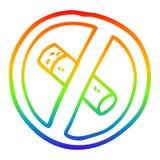 A creative rainbow gradient line drawing cartoon no smoking sign. An original creative rainbow gradient line drawing cartoon no smoking sign stock illustration