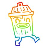 A creative rainbow gradient line drawing cartoon waste bin. An original creative rainbow gradient line drawing cartoon waste bin vector illustration