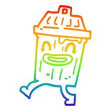 A creative rainbow gradient line drawing cartoon waste bin. An original creative rainbow gradient line drawing cartoon waste bin stock illustration