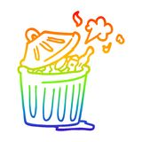 A creative rainbow gradient line drawing cartoon waste bin. An original creative rainbow gradient line drawing cartoon waste bin royalty free illustration