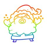 A creative rainbow gradient line drawing santa claus shouting in frustration. An original creative rainbow gradient line drawing santa claus shouting in royalty free illustration