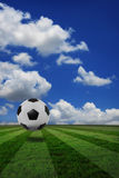 Creative real photo of soccer football grass field Royalty Free Stock Images