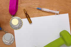 Creative reception problems of doping. Stock Photo