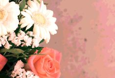 Creative rectangular floral background. Photo with original effect and blur. royalty free stock photo