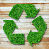 Recycle symbol from grass on wood background Royalty Free Stock Photos