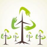 Creative recycle tree. Creative hand recycle symbol tree background Stock Photo