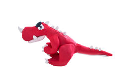 Creative red dinosaur clay model, isolated. Play dough animal Royalty Free Stock Image