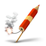 Creative red pencil rocket launch. Red pencil rocket ready for takeoff, creative writing concept royalty free illustration