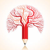 Creative red pencil tree branch stock  Stock Photography