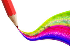 Creative red pencil with wave colorful. Royalty Free Stock Image