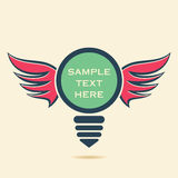 Creative retro bulb with wings design Royalty Free Stock Photography