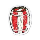 A creative retro distressed sticker of a cartoon painted barrel. An original creative retro distressed sticker of a cartoon painted barrel vector illustration