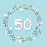 Creative retro fifty anniversary greeting design. Fifty anniversary or birthday greeting card design Stock Image