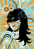 Creative retro girl. Creative and colorful complex illustration with woman's face and may colors, circles and designs Stock Images