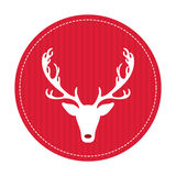 Creative retro Merry Christmas greeting card. Hipster funny deer. Vector art. Xmas celebration royalty free illustration