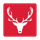 Creative retro Merry Christmas greeting card. Hipster funny deer. Vector art. Xmas celebration stock illustration