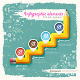 Creative retro template with pencil stair flow chart Royalty Free Stock Image