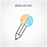 Creative right and left brain and pencil symbol Stock Images