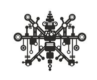 Creative robot print for t-shirt, stickers or wall art. Vector black illustration isolated on white background royalty free illustration