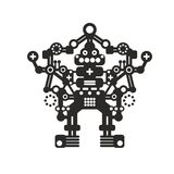 Creative robot print for t-shirt, stickers or wall art. Vector black illustration isolated on white background vector illustration