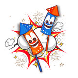 Creative Rockets for American Independence Day. American Flag colors Rockets with funny faces on abstract background for American Independence Day celebration Stock Photo