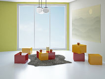 Creative room with panoramic window Royalty Free Stock Photos