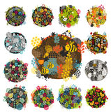 Creative round print with floral elements. Royalty Free Stock Image