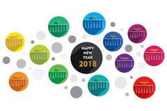 New year 2018 calendar design. Creative round shape new year 2018 calendar 2018 template design Royalty Free Stock Photos