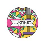 Creative round-shaped logo for Latino festival. Music folk celebration. Abstract emblem with guitar. Line art with. Colorful fill. Design for badge, poster vector illustration