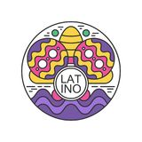 Creative round sticker with maracas and sombrero. Latino festival. Music folk celebration Abstract colorful emblem in. Creative round-shaped sticker with pair of Royalty Free Stock Photo