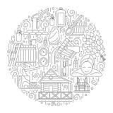 Sauna Theme Vector Illustraion. Creative round vector illustration of sauna theme. Editable stroke design element Royalty Free Stock Photo