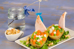 Creative sailboat salad Stock Photography