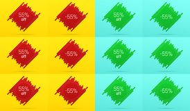 Creative Sale Banner with 55 Off. Offer. Creative Sale Banner with 55% Off. Offer of Price Discount on Background consisting of Tiles with Metallic Red and Green Royalty Free Stock Photos