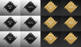 Creative Sale Banner with 80 Off. Price Discount. Creative Sale Banner with 80% Off. Offer of Price Discount on Background consisting of Bars with Metallic Black Stock Photos