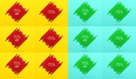 Creative Sale Banner with 75 Off. Offer. Creative Sale Banner with 75% Off. Offer of Price Discount on Background consisting of Tiles with Metallic Red and Green Stock Photos