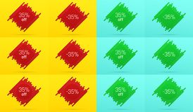 Creative Sale Banner with 35 Off. Offer. Of Price Discount on Background consisting of Tiles with Metallic Red and Green Color. Vector Set of Sale Badges with Royalty Free Stock Images