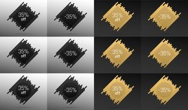 Creative Sale Banner with 35 Off. Price Discount. Creative Sale Banner with 35% Off. Offer of Price Discount on Background consisting of Bars with Metallic Black Royalty Free Stock Photo