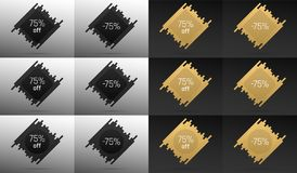 Creative Sale Banner with 75 Off. Price Discount. Creative Sale Banner with 75% Off. Offer of Price Discount on Background consisting of Bars with Metallic Black vector illustration