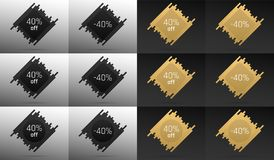 Creative Sale Banner with 40 Off. Price Discount. Creative Sale Banner with 40% Off. Offer of Price Discount on Background consisting of Bars with Metallic Black Stock Photo